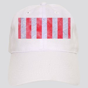 STRIPES1 WHITE MARBLE & RED WATERCOLOR Cap