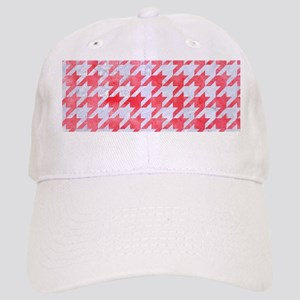HOUNDSTOOTH1 WHITE MARBLE & RED WATERCOLOR Cap