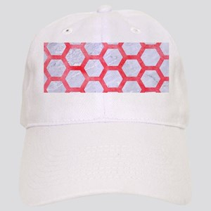 HEXAGON2 WHITE MARBLE & RED WATERCOLOR (R) Cap