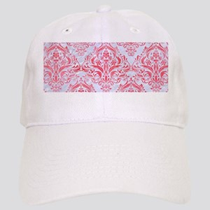 DAMASK1 WHITE MARBLE & RED WATERCOLOR (R) Cap