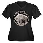 Silver Buffalo Women's Plus Size V-Neck Dark T-Shi