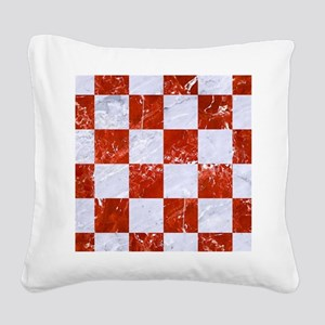 SQUARE1 WHITE MARBLE & RED MA Square Canvas Pillow