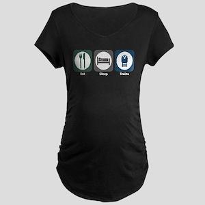 Eat Sleep Trains Maternity Dark T-Shirt