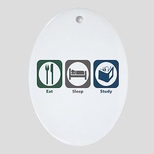 Eat Sleep Study Oval Ornament