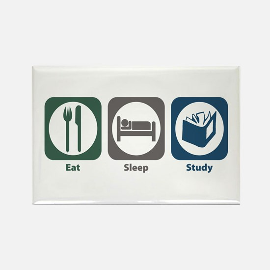Eat Sleep Study Rectangle Magnet