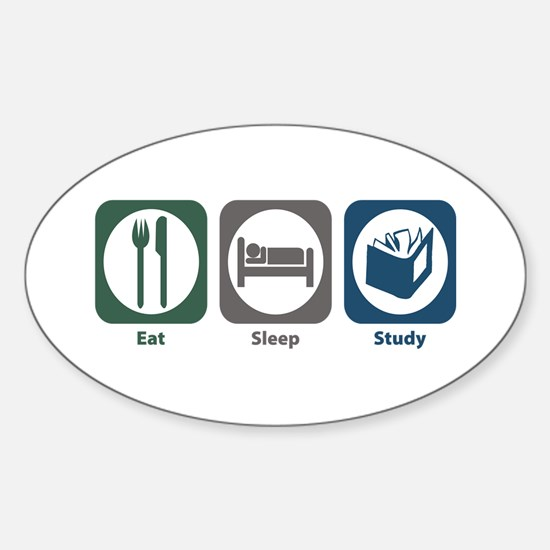 Eat Sleep Study Oval Decal