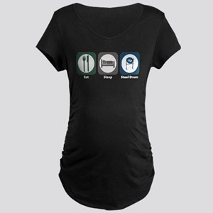 Eat Sleep Steel Drum Maternity Dark T-Shirt