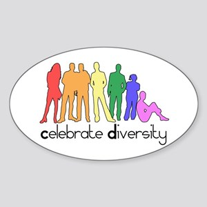 Celebrate Diversity (people) Oval Sticker