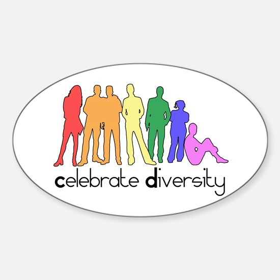 Celebrate Diversity (people) Oval Decal