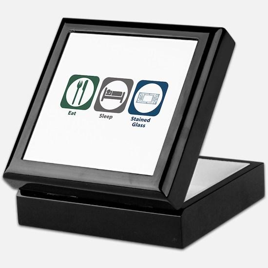 Eat Sleep Stained Glass Keepsake Box