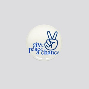 Give Peace a Chance - Hand Sign - Blue Mini Button
