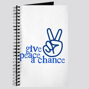 Give Peace a Chance - Hand Sign - Blue Journal