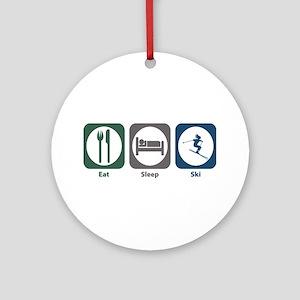 Eat Sleep Ski Ornament (Round)