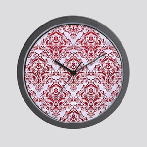 DAMASK1 WHITE MARBLE & RED LEATHER (R) Wall Clock