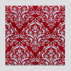 DAMASK1 WHITE MARBLE & RED LEATHER Tile Coaster