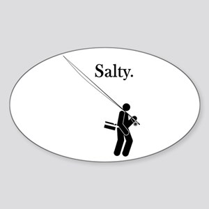 """Salty Flyrodder"" Oval Sticker"