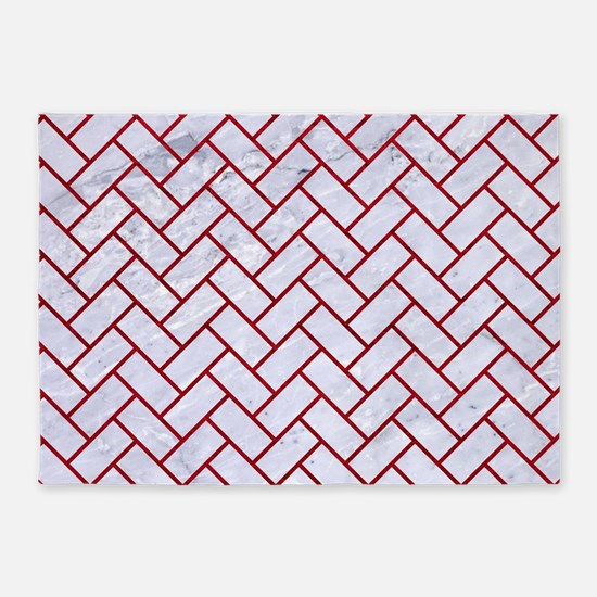 BRICK2 WHITE MARBLE & RED LEATHER ( 5'x7'Area Rug
