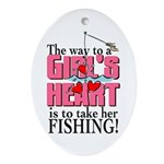 Fishing - Way to a Girl's Heart Oval Ornament