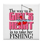 Fishing - Way to a Girl's Heart Tile Coaster