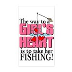 Fishing - Way to a Girl's Heart Sticker (Rectangle