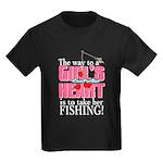 Fishing - Way to a Girl's Heart Kids Dark T-Shirt