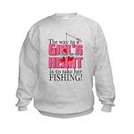 Fishing - Way to a Girl's Heart Kids Sweatshirt