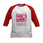 Fishing - Way to a Girl's Heart Kids Baseball Jers