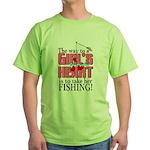 Fishing - Way to a Girl's Heart Green T-Shirt