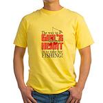 Fishing - Way to a Girl's Heart Yellow T-Shirt