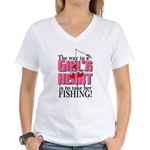 Fishing - Way to a Girl's Heart Women's V-Neck T-S
