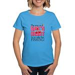 Fishing - Way to a Girl's Heart Women's Dark T-Shi
