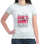 Fishing - Way to a Girl's Heart Jr. Ringer T-Shirt
