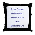 Double Trouble - Blue Throw Pillow