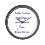 Double Trouble - Blue Wall Clock