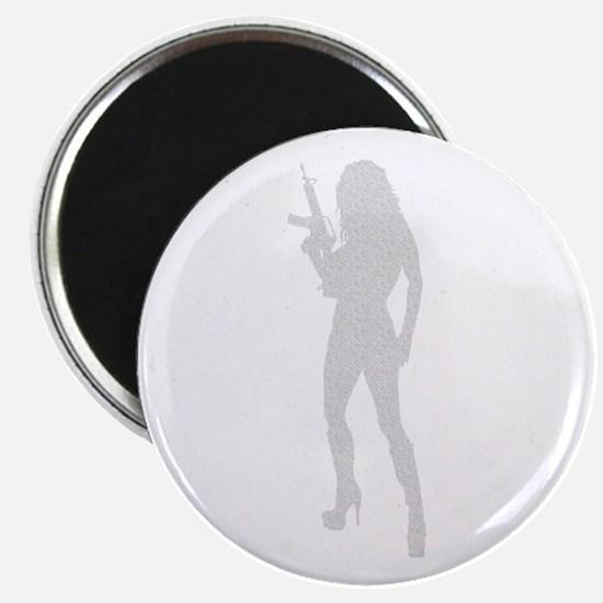 """Sexy Gun Girl 2.25"""" Magnet (100 pack)"""