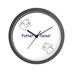 Father of Twins - Blue Wall Clock