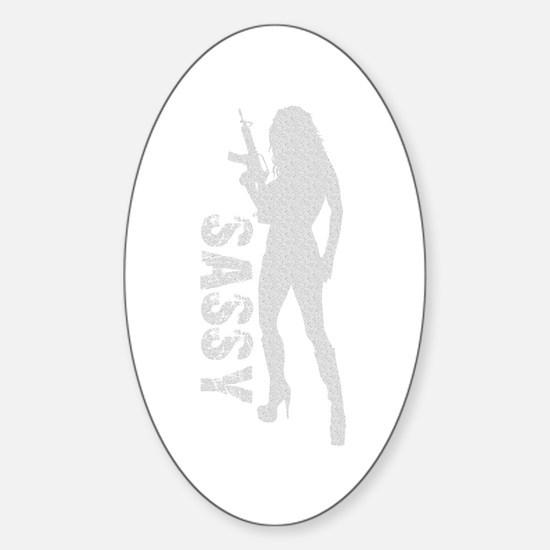 Sassy Gun Girl Oval Decal