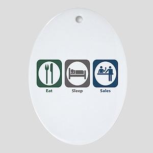 Eat Sleep Sales Oval Ornament