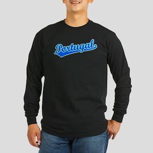 Retro Portugal (Blue) Long Sleeve Dark T-Shirt