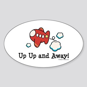 Up Up and Away Airplane Oval Sticker