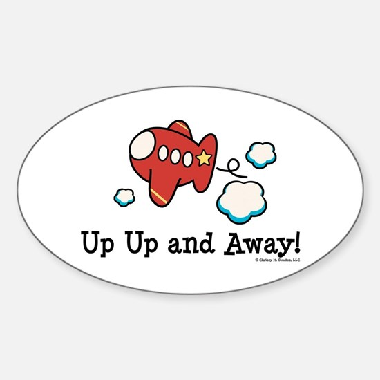 Up Up and Away Airplane Oval Decal