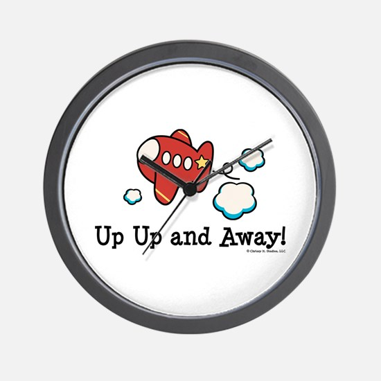 Up Up and Away Airplane Wall Clock