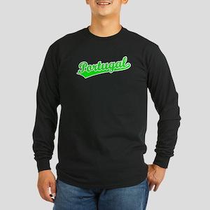 Retro Portugal (Green) Long Sleeve Dark T-Shirt