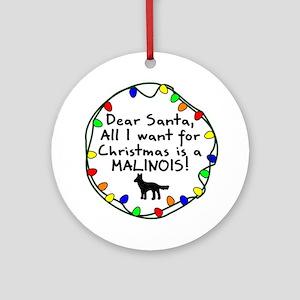 Dear Santa Malinois Christmas Ornament (Round)