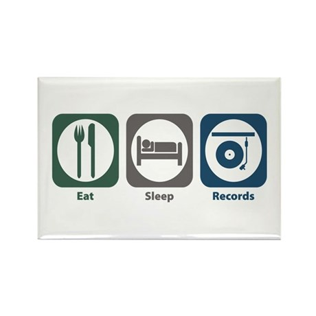 Eat Sleep Records Rectangle Magnet (100 pack)
