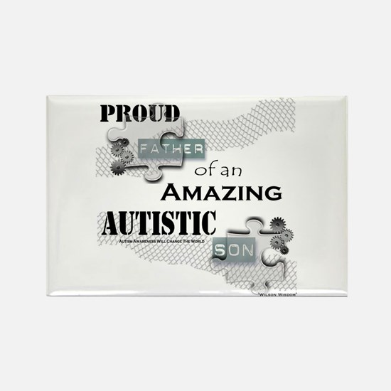 Proud Dad of an Autistic Son Rectangle Magnet