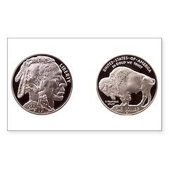 Silver Indian-Buffalo Rectangle Decal