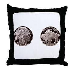Silver Indian-Buffalo Throw Pillow