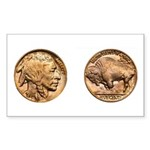 Nickel Indian-Buffalo Rectangle Sticker 50 pk)
