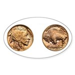Nickel Indian-Buffalo Oval Sticker